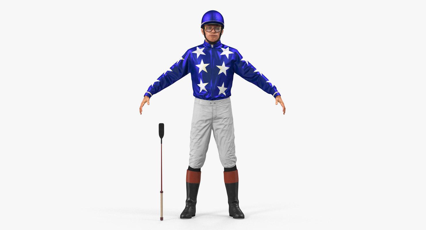 horse jockey rigged 3D model