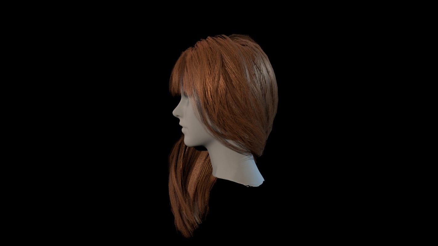polygonal hair 3D model