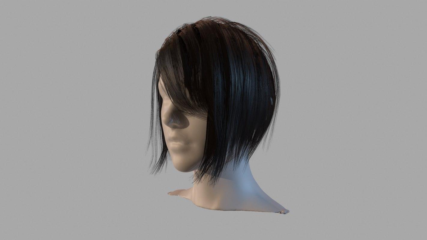 3D model polygonal hair