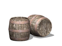 old wooden barrel model