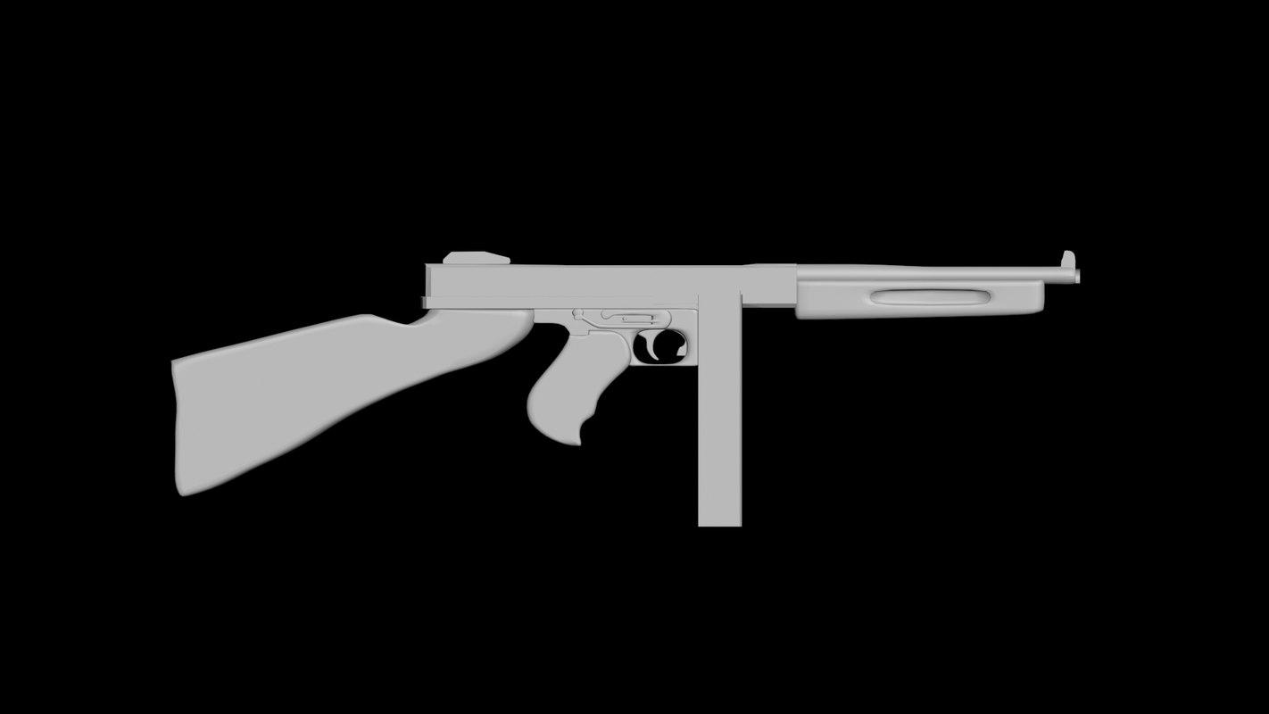 thompson m1a1 gun 3D model