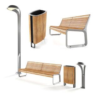 street park bench model