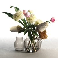 3D model glass vases flowers 2