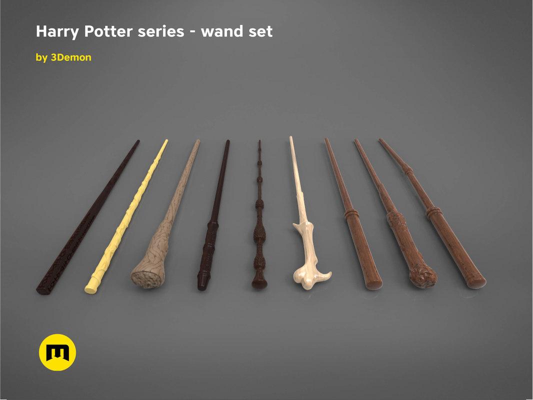 harry potter wand set 3D model