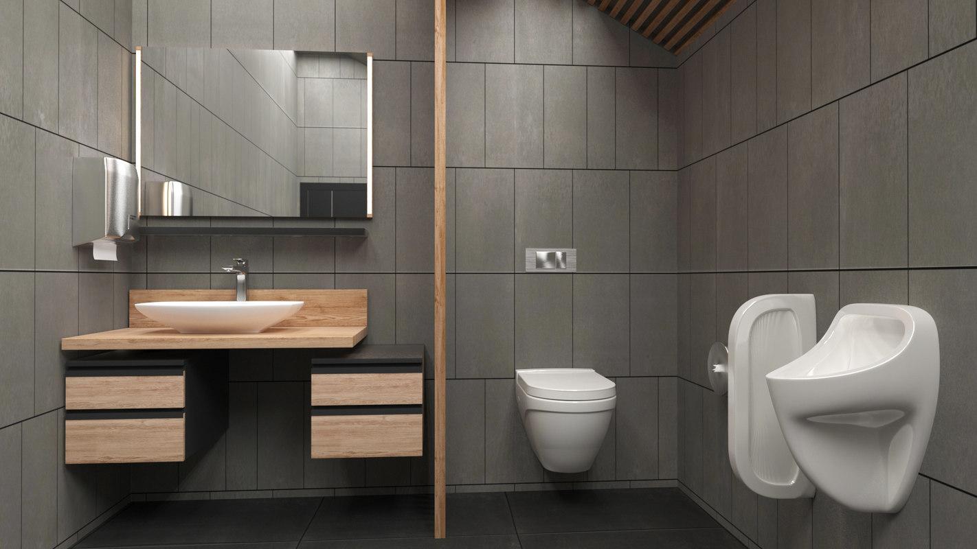 3D home toilet interior bathroom