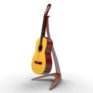realistic classic guitar 3D model