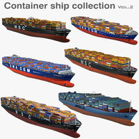 3D container ships vessels 2 model