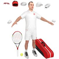 3D tennis player cap racket model