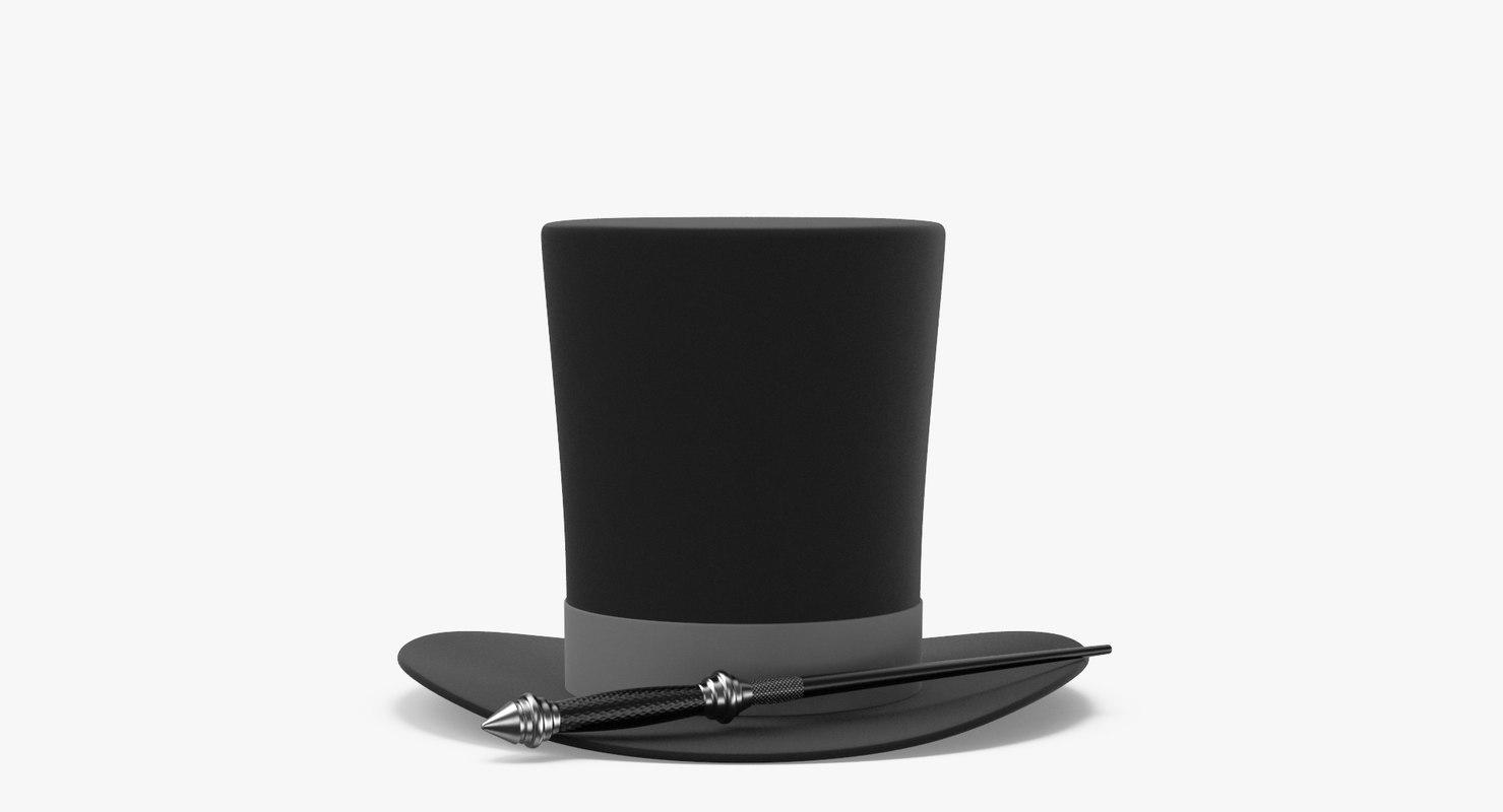3D magic hat wand model