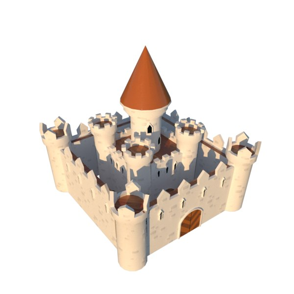 3D fantasy cartoon medieval castle