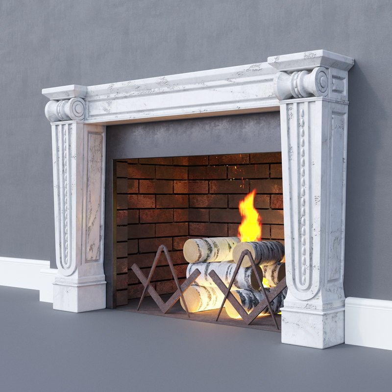 classic fireplace firewood 3D model