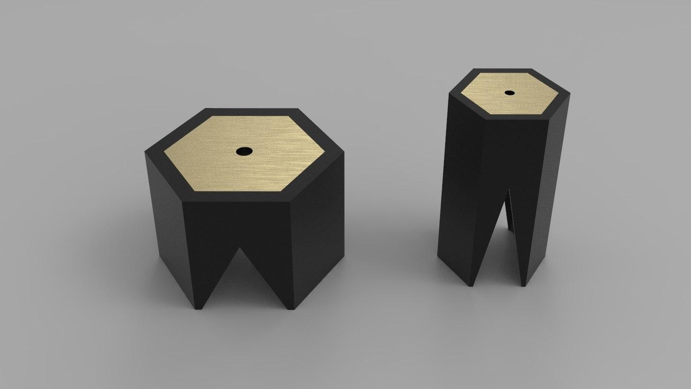 hexagonal coffee table 3D model