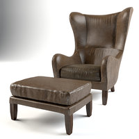 Garbo Leather Wingback Chair and Luxe Leather Ottoman