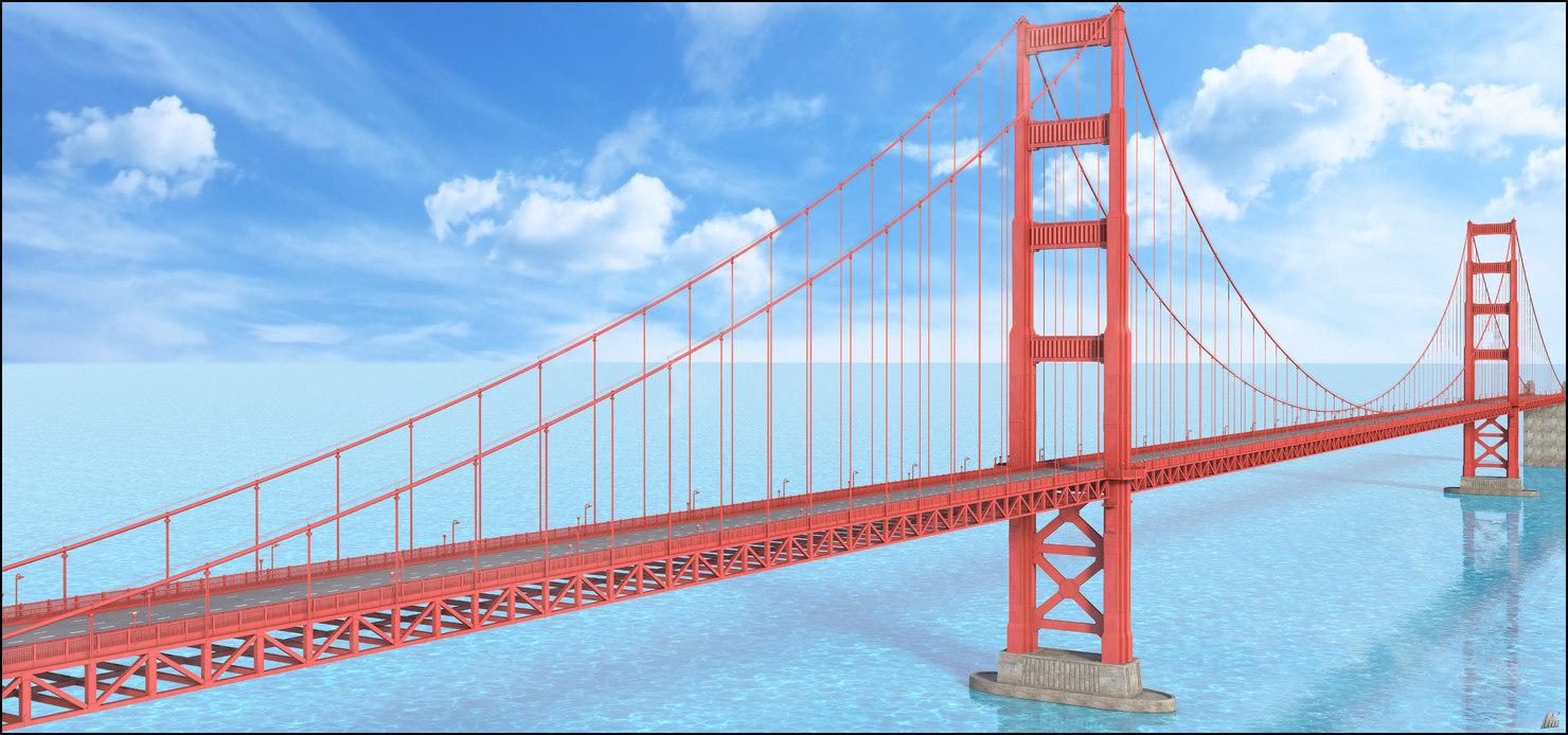 3D golden gate bridge san francisco model