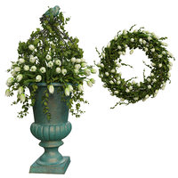 Vase with flowers and wreath 06