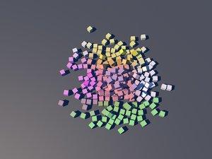 3D rainbow cubes