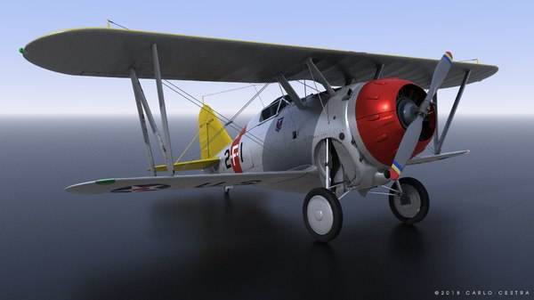 3D grumman f2f-1 uss lexington