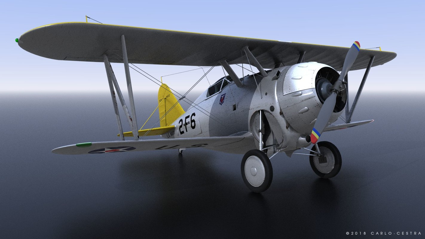 3D grumman f2f-1 uss lexington model