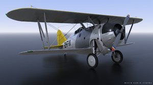 grumman f2f-1 uss lexington 3D model