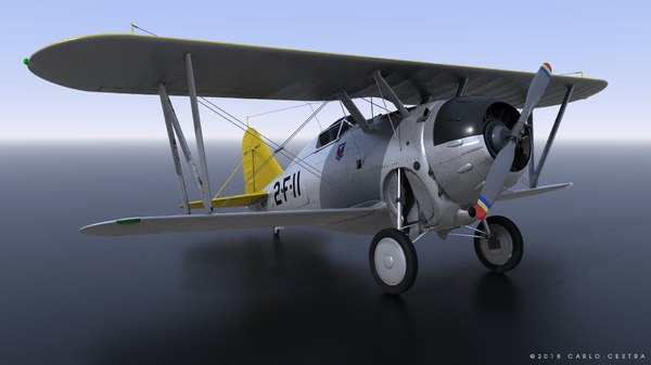 grumman f2f-1 uss lexington 3D model