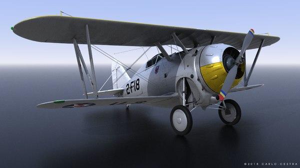 3D model grumman f2f-1 uss saratoga