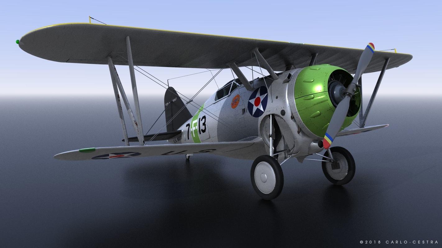 grumman f2f-1 uss wasp 3D model