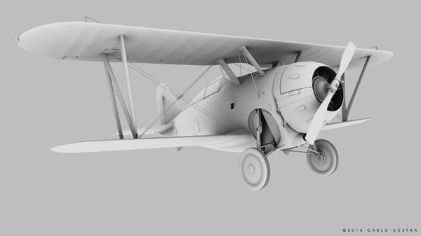 3D grumman f2f-1 fighter aircraft