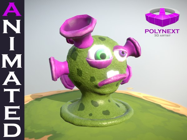 3D sucker virus bacteria aliens cartoon