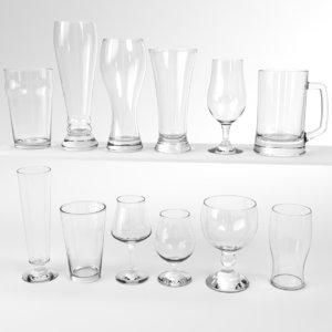 blender set beer glass 3D model