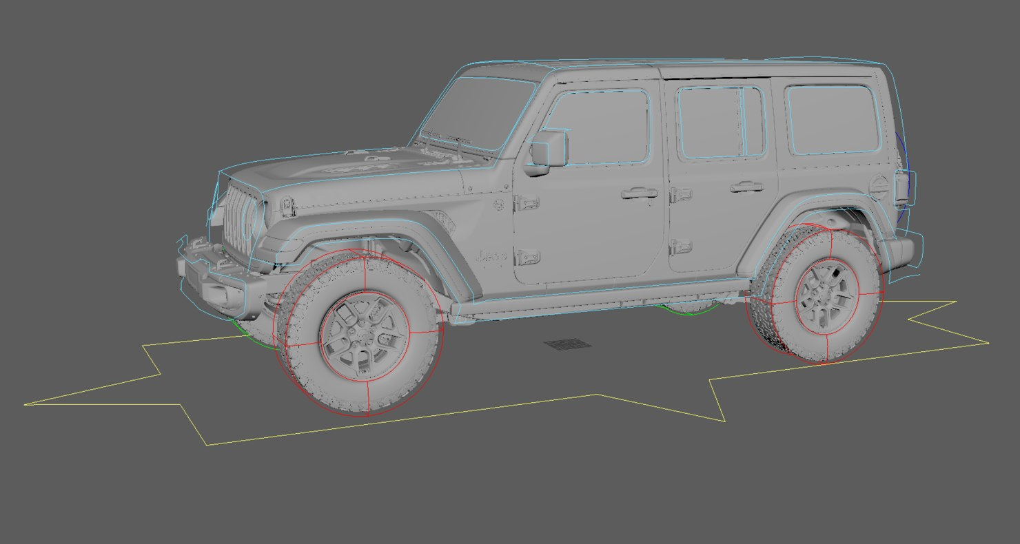 3D rigged 2018 jeep wrangler model