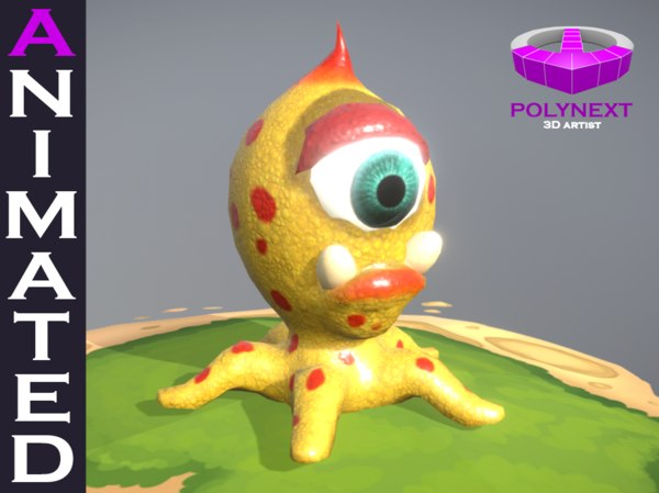 3D octopus virus bacteria aliens cartoon