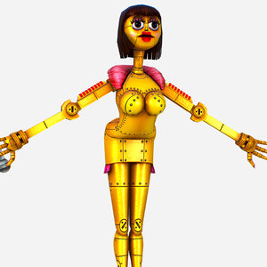 golden musical robot drone 3D