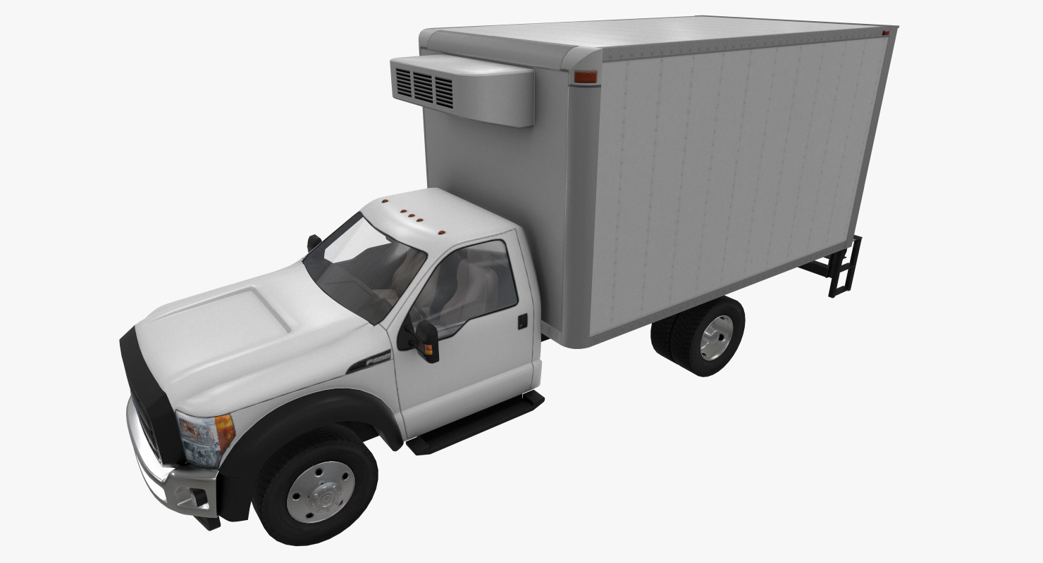 3D realistic f-550 fridge truck model