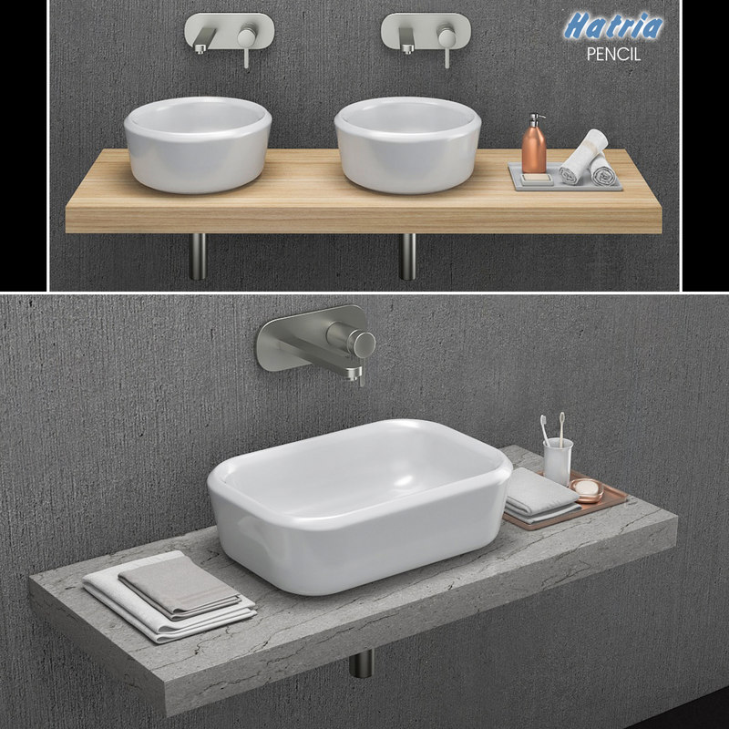 washbasin hatria pencil 3D