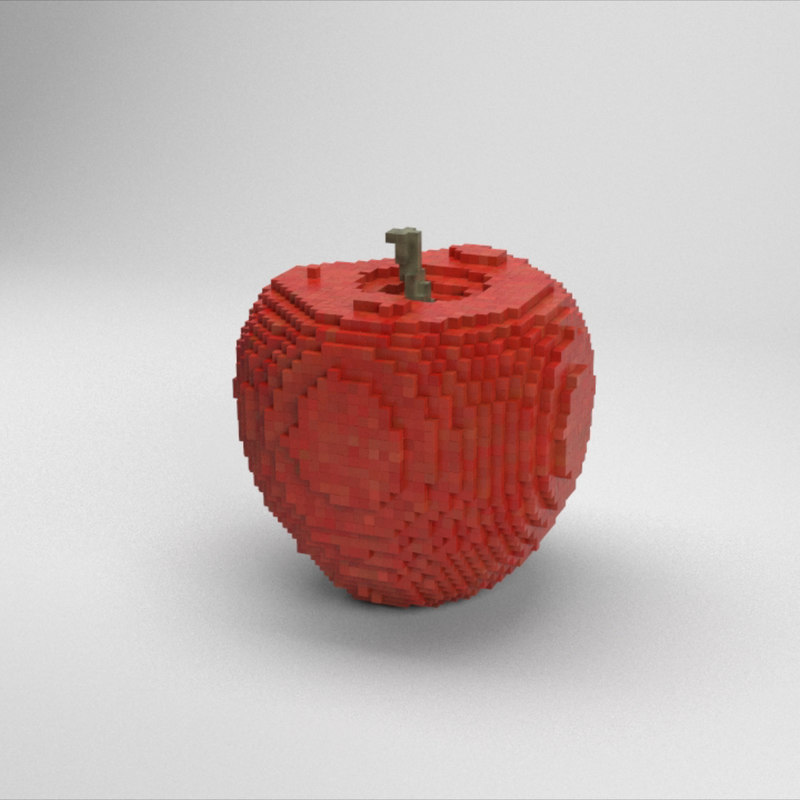 3D voxel red apple