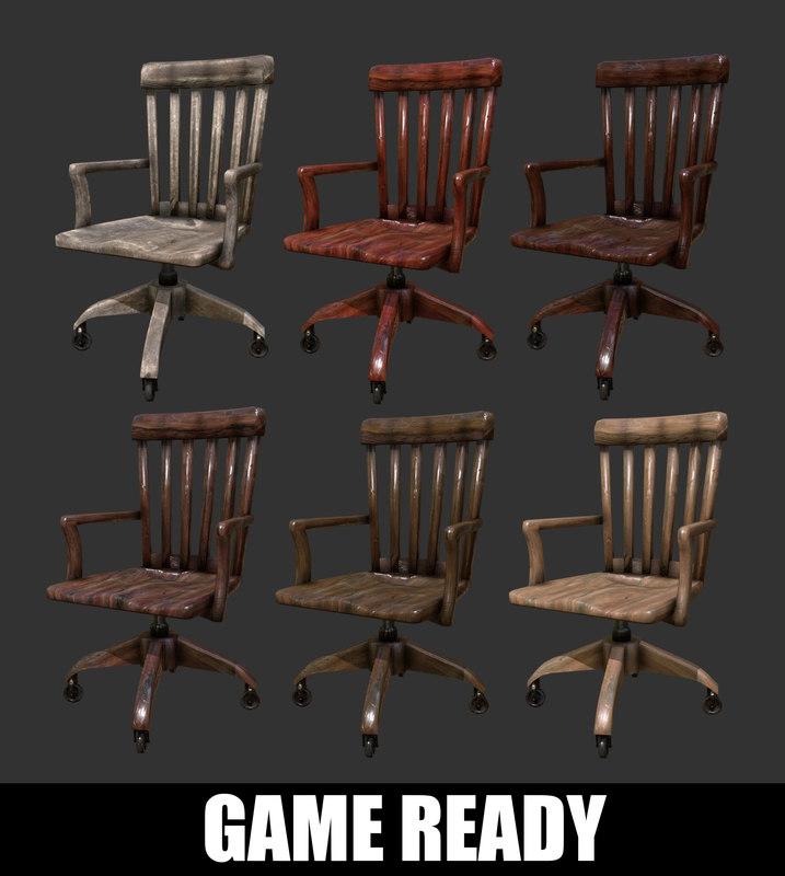 antique wooden desk chair 3D