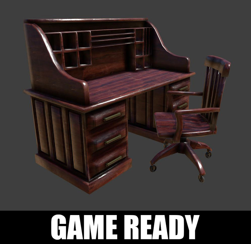 antique desk chair ready 3D