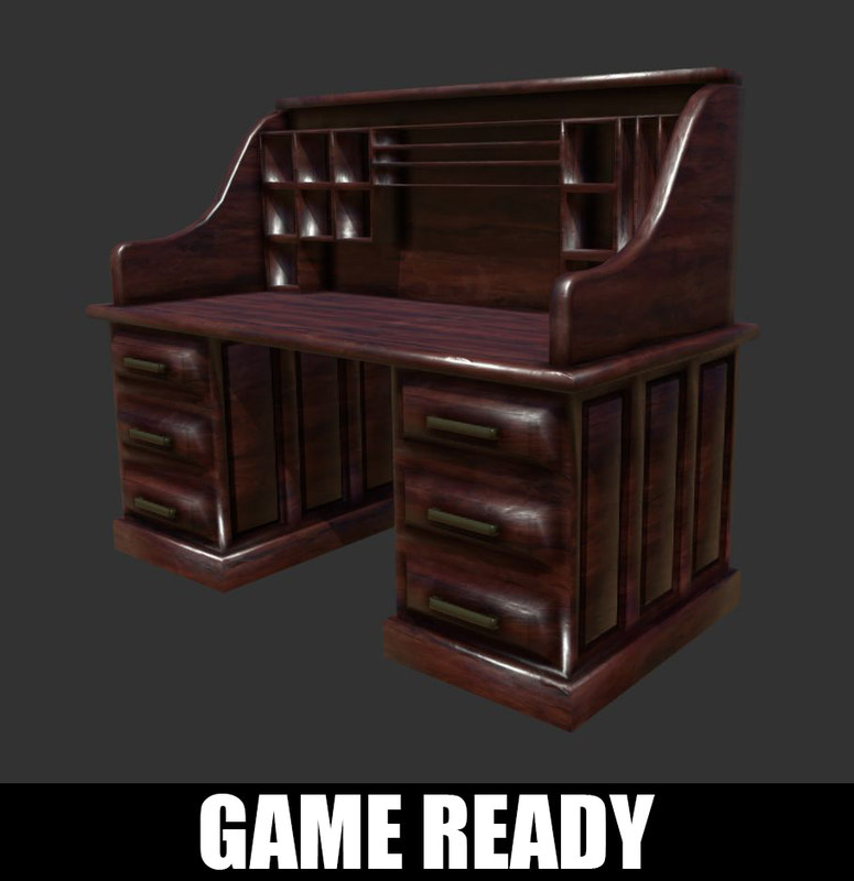 antique desk ready 3D model