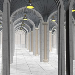 3D gothic archway model