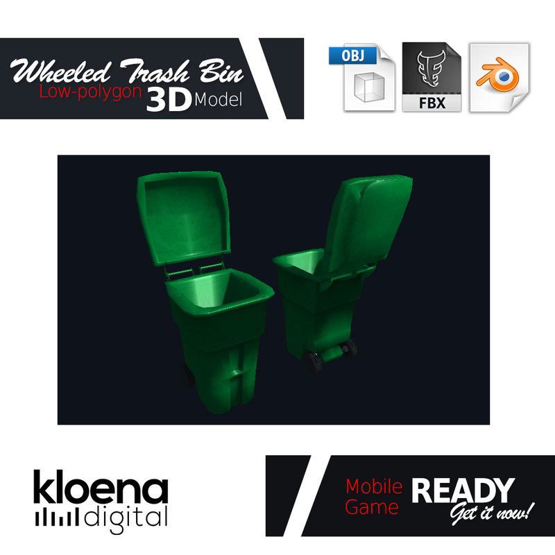 3D model wheeled trash bin