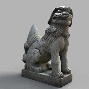 lion-statue-005f sculpture 3D model