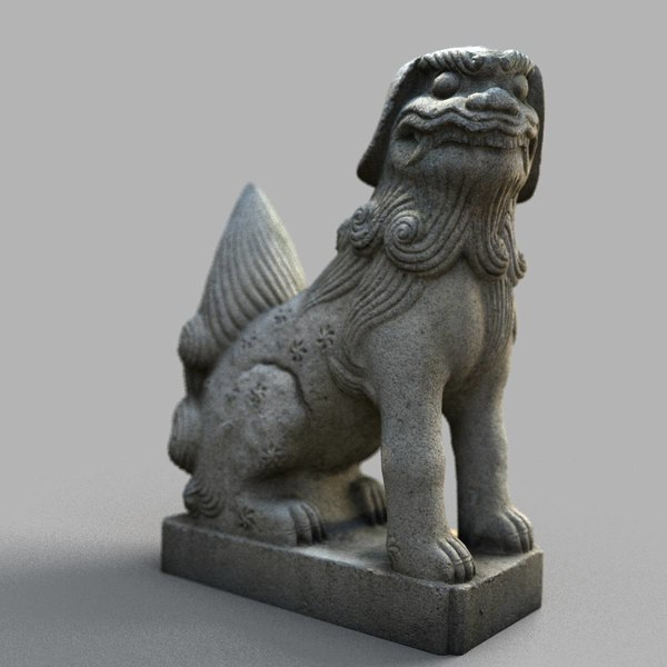 lion-statue-005f sculpture 3D model
