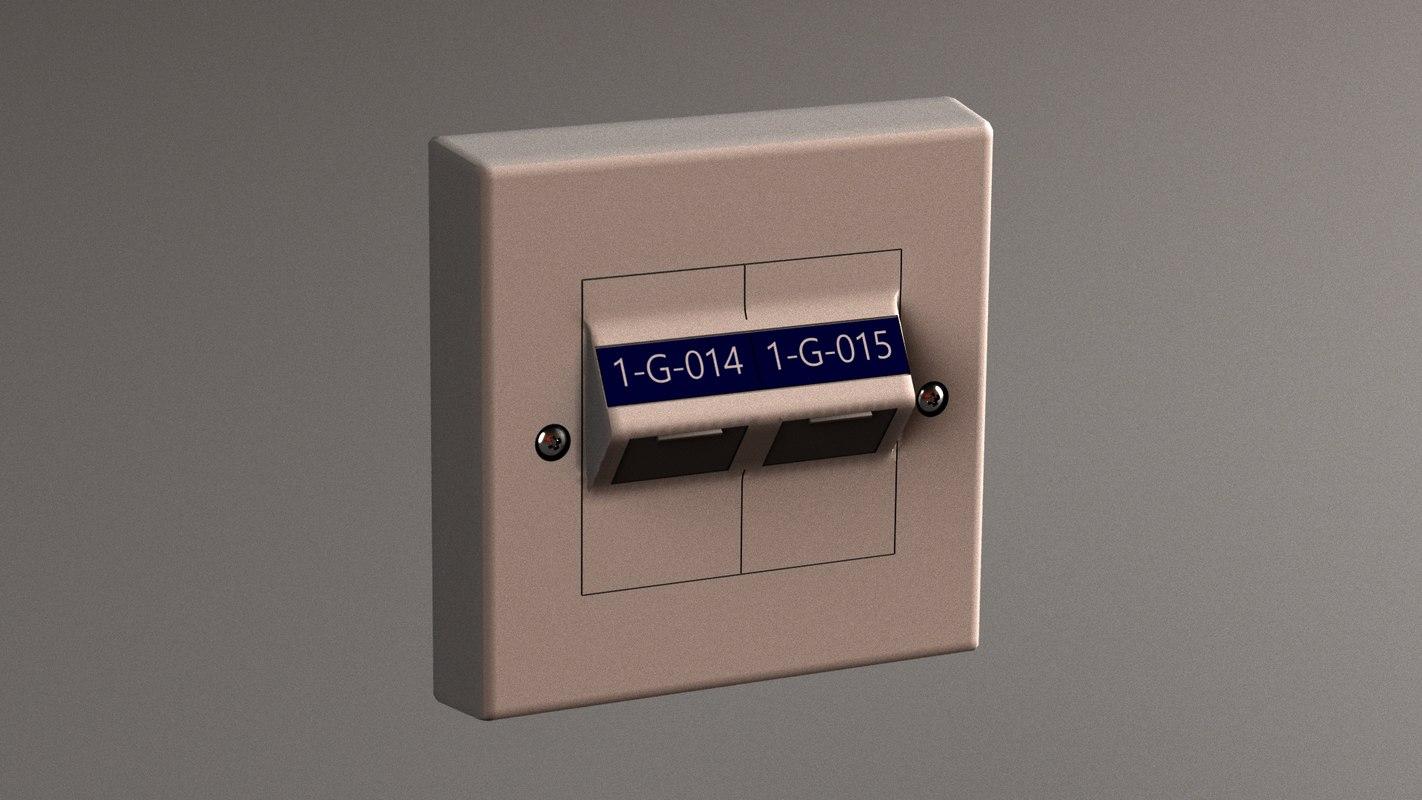 3D double port ethernet socket