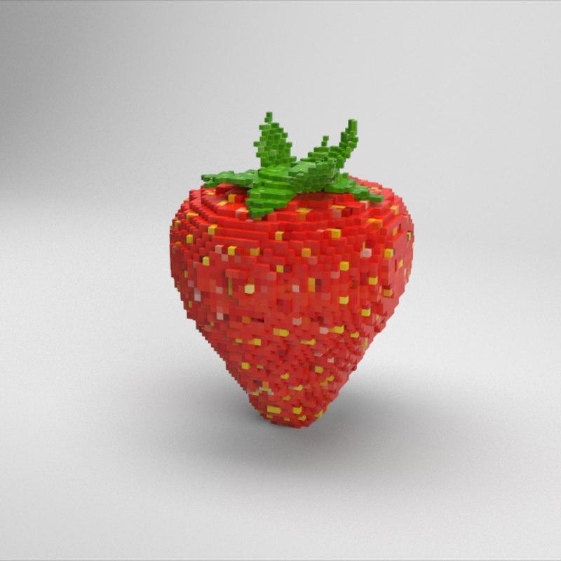 voxel strawberry model