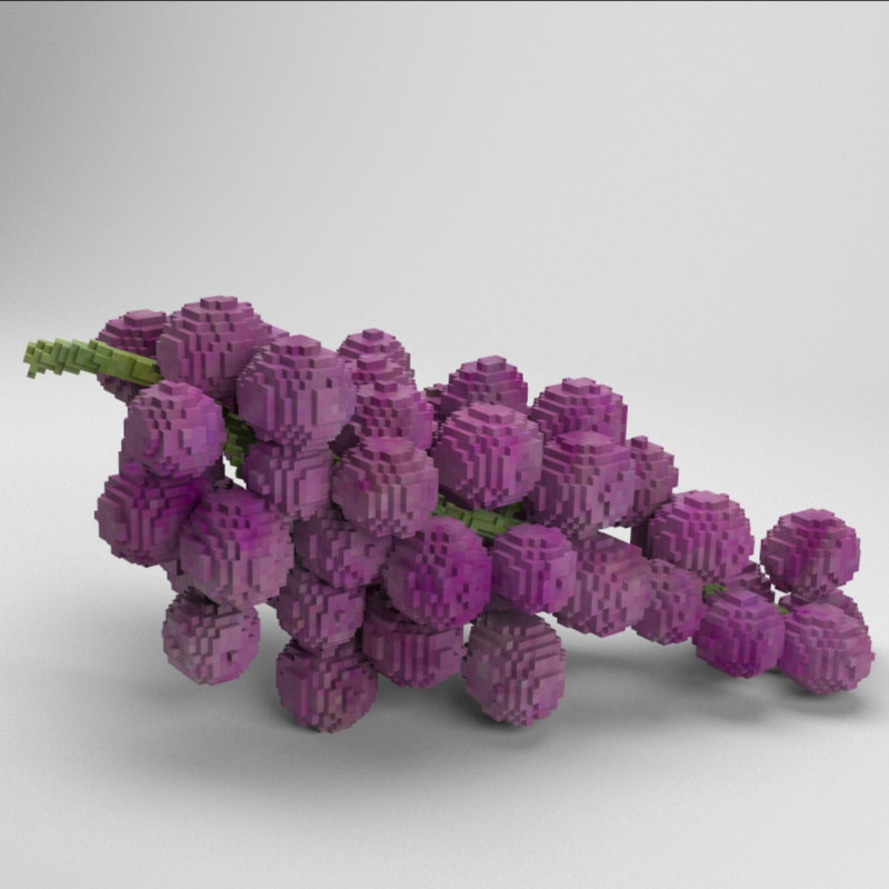 voxel grapes 3D model