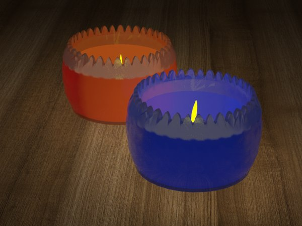 restaurant table candles 3D