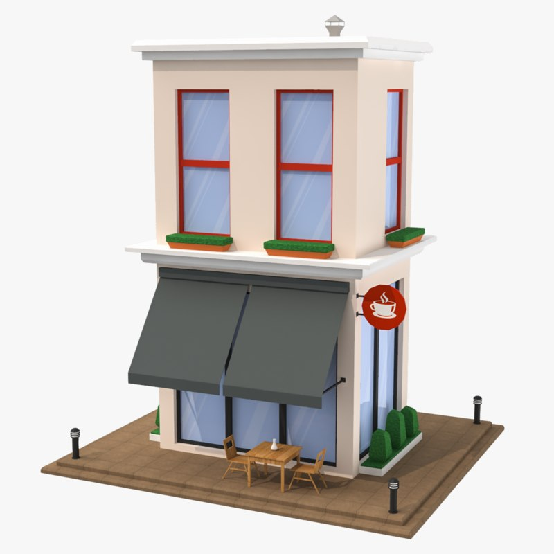 cartoon buildings - 5 3D model