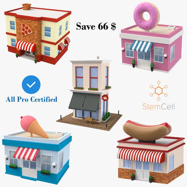 cartoon buildings - 5 3D model