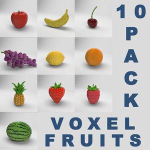 3D 10 pack voxel fruits apple model