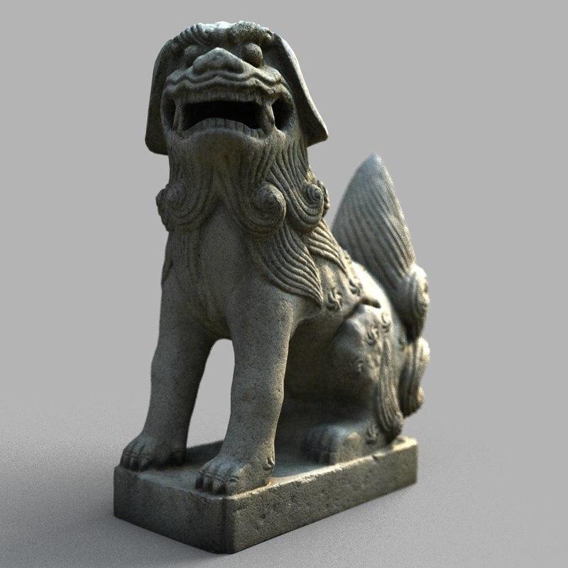lion-statue-005m sculpture 3D model